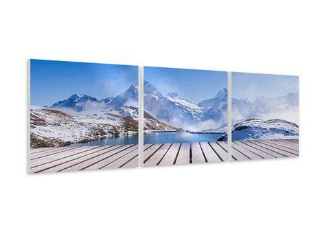 Panorama Hartschaumbild 3-teilig Sonnenterrasse am Schweizer Bergsee