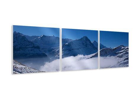 Panorama Hartschaumbild 3-teilig Sonnenterrasse in den Schweizer Alpen