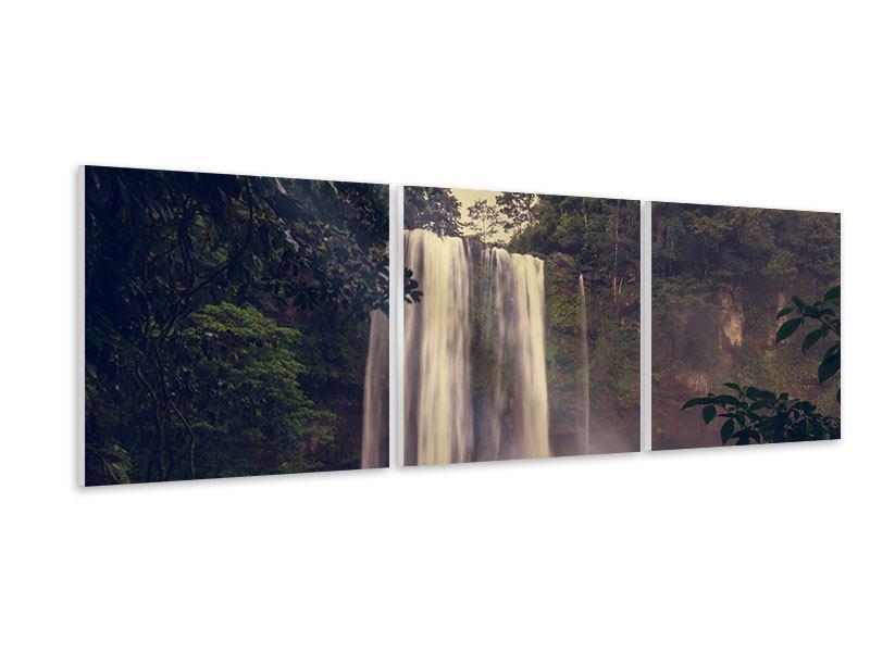 Panorama Hartschaumbild 3-teilig Wasserfall in Mexiko