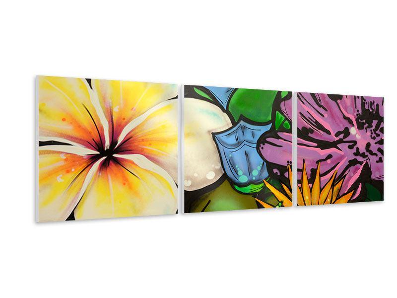 Panorama Hartschaumbild 3-teilig Graffiti Flowers