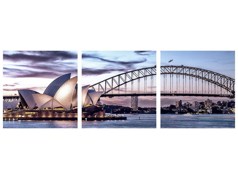 Panorama Hartschaumbild 3-teilig Skyline Sydney Opera House