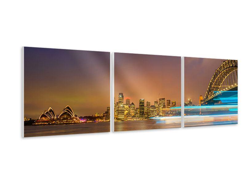 Panorama Hartschaumbild 3-teilig Skyline Opera House in Sydney im Abendlicht