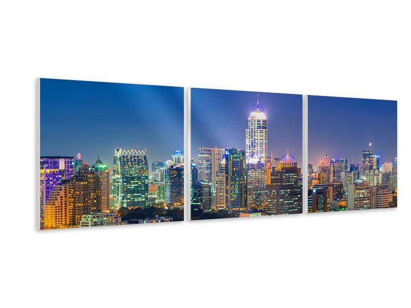 Panorama Hartschaumbild 3-teilig Skyline One Night in Bangkok