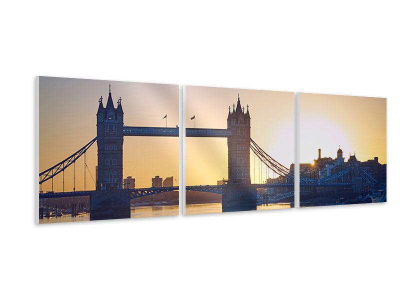 Panorama Hartschaumbild 3-teilig Tower Bridge bei Sonnenuntergang