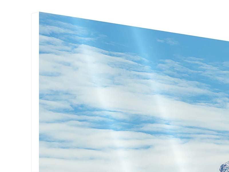 Panorama Hartschaumbild 3-teilig Friedliche Bergstimmung