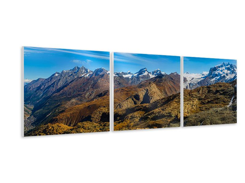 Panorama Hartschaumbild 3-teilig Schweizer Alpen im Frühling