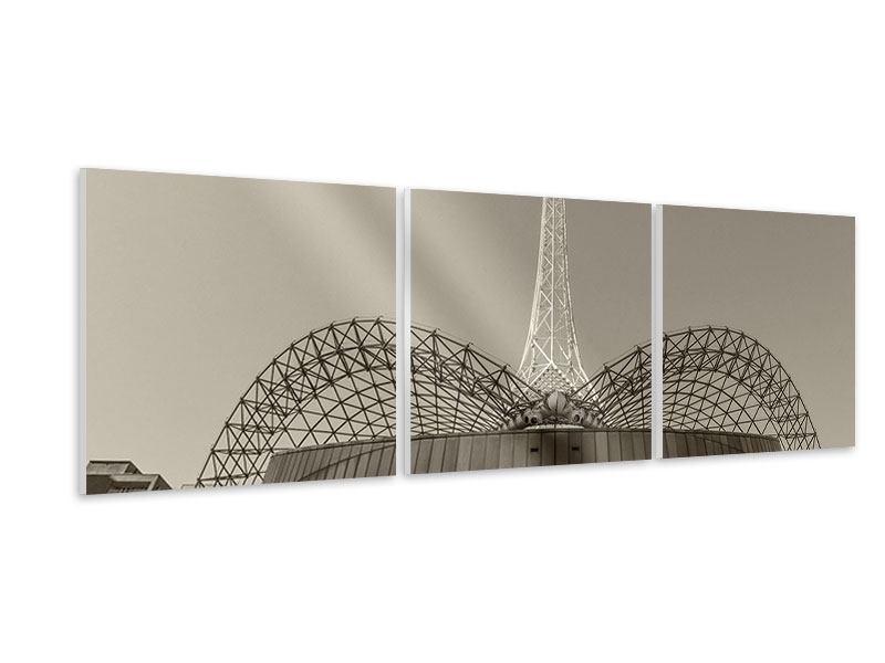 Panorama Hartschaumbild 3-teilig Close Up Wolkenkratzer