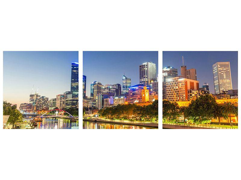 Panorama Hartschaumbild 3-teilig Skyline Sydney in der Abenddämmerung
