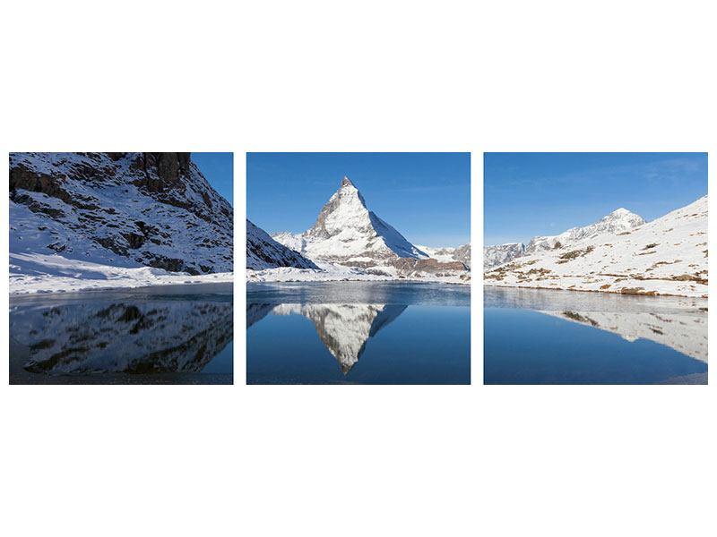 Panorama Hartschaumbild 3-teilig Der Riffelsee am Matterhorn