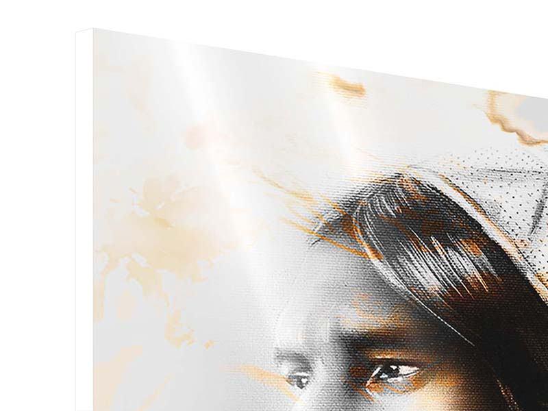 Panorama Hartschaumbild 3-teilig Kunstvolles Indianer-Portrait