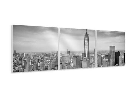 Panorama Hartschaumbild 3-teilig Skyline Schwarzweissfotografie New York