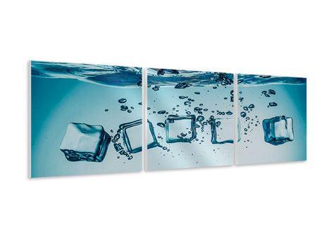 Panorama Hartschaumbild 3-teilig Eiswürfel-Quadro