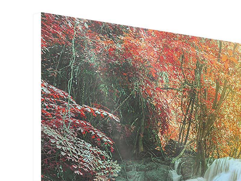 Panorama Hartschaumbild 3-teilig Wasserfall im Licht