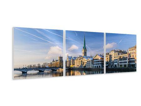Panorama Hartschaumbild 3-teilig Zürich