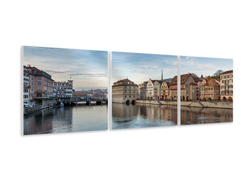 Panorama Hartschaumbild 3-teilig Kosmopolitisches Zürich