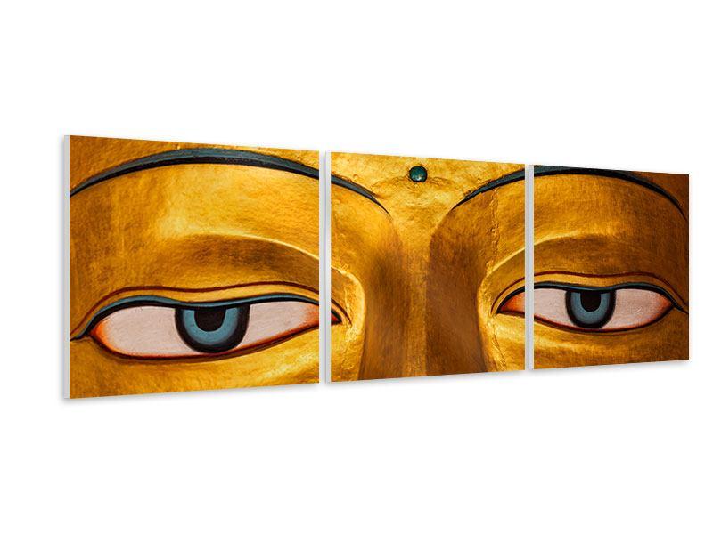 Panorama Hartschaumbild 3-teilig Die Augen eines Buddhas
