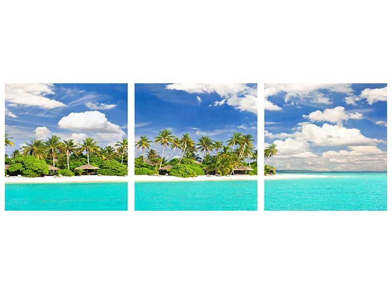 Panorama Hartschaumbild 3-teilig Meine Insel