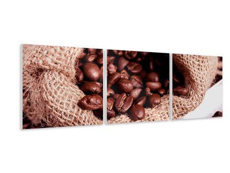 Panorama Hartschaumbild 3-teilig XXL Kaffeebohnen