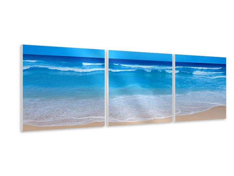 Panorama Hartschaumbild 3-teilig Sanfte Strandwellen