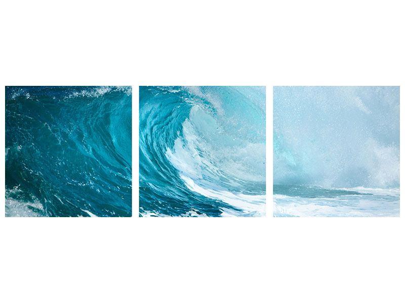 Panorama Hartschaumbild 3-teilig Die perfekte Welle