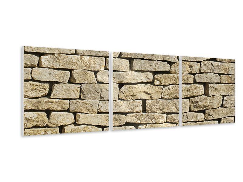 Panorama Hartschaumbild 3-teilig Alte Mauer