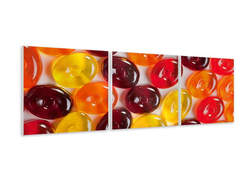 Panorama Hartschaumbild 3-teilig Bonbons