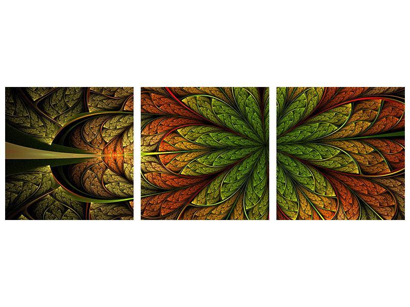 Panorama Hartschaumbild 3-teilig Abstraktes Blumenmuster