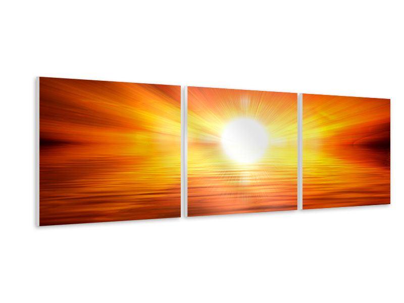 Panorama Hartschaumbild 3-teilig Glühender Sonnenuntergang