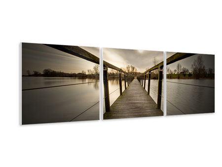 Panorama Hartschaumbild 3-teilig Die Holzbrücke