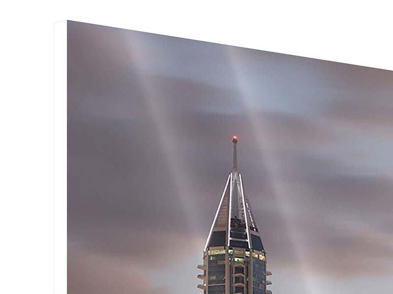 Panorama Hartschaumbild 3-teilig Skyline Dubai bei Sonnenuntergang