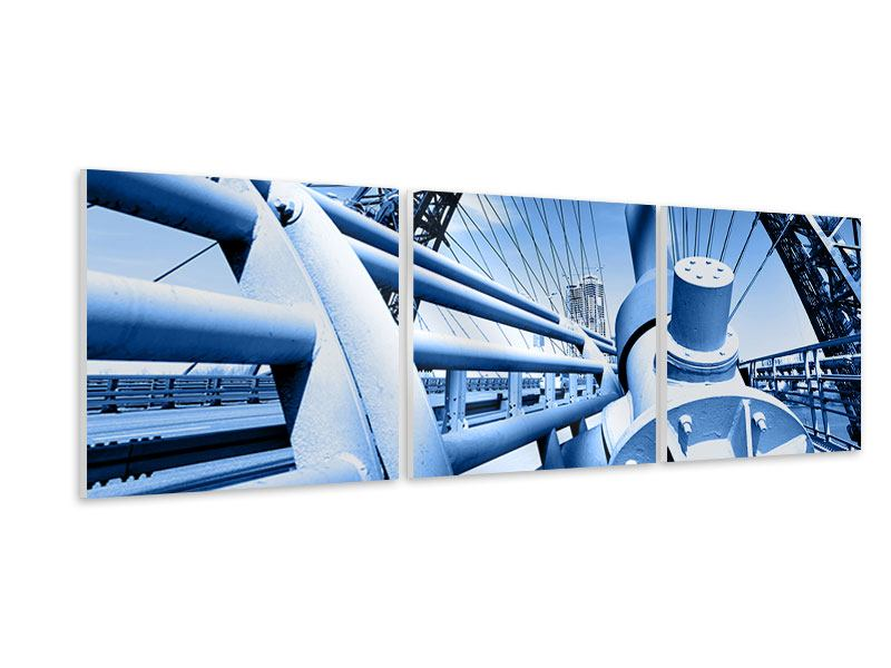 Panorama Hartschaumbild 3-teilig Avantgardistische Hängebrücke