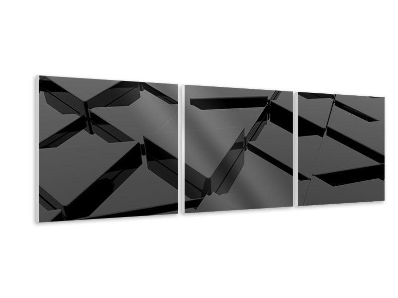 Panorama Hartschaumbild 3-teilig 3D-Dreiecksflächen