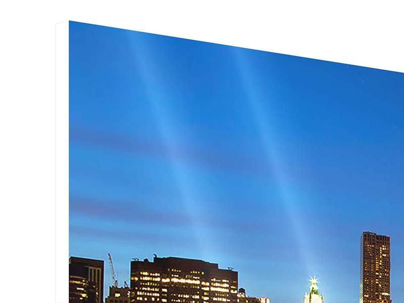 Panorama Hartschaumbild 3-teilig Skyline Manhattan im Lichtermeer