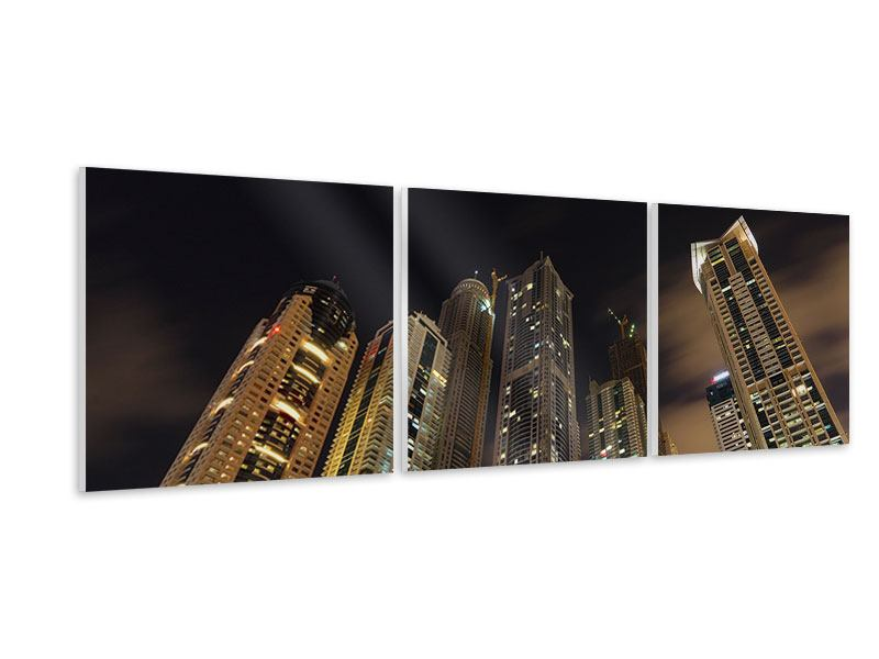 Panorama Hartschaumbild 3-teilig Wolkenkratzer Dubai Marina