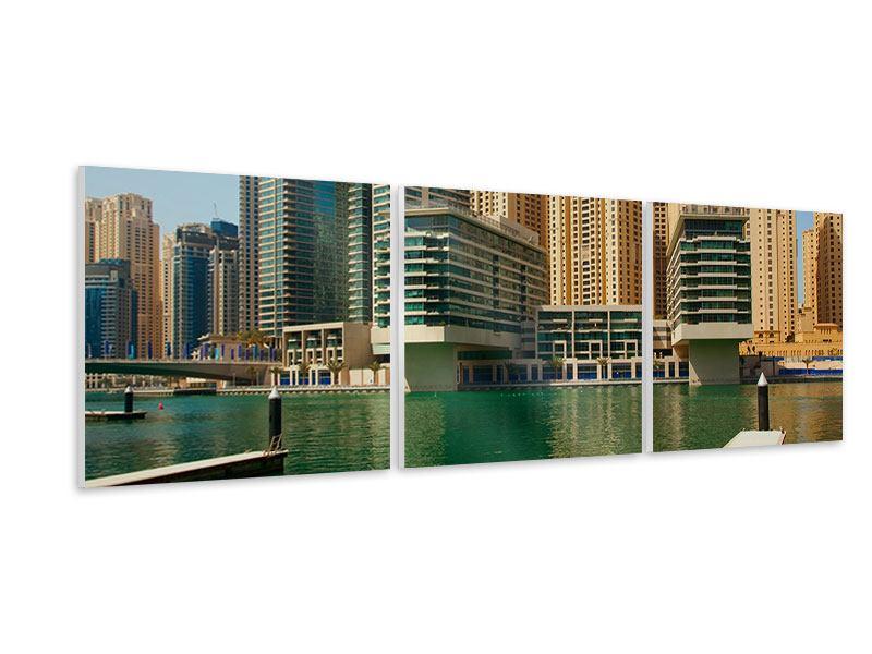 Panorama Hartschaumbild 3-teilig Spektakuläre Wolkenkratzer Dubai