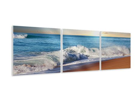 Panorama Hartschaumbild 3-teilig Die Wellen des Meeres