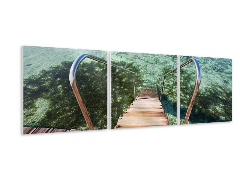 Panorama Hartschaumbild 3-teilig Bad im Meer