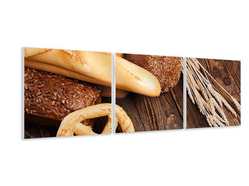 Panorama Hartschaumbild 3-teilig Brot und Bretzel