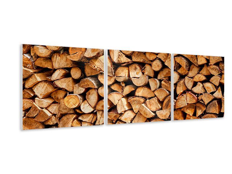 Panorama Hartschaumbild 3-teilig Gestapeltes Holz