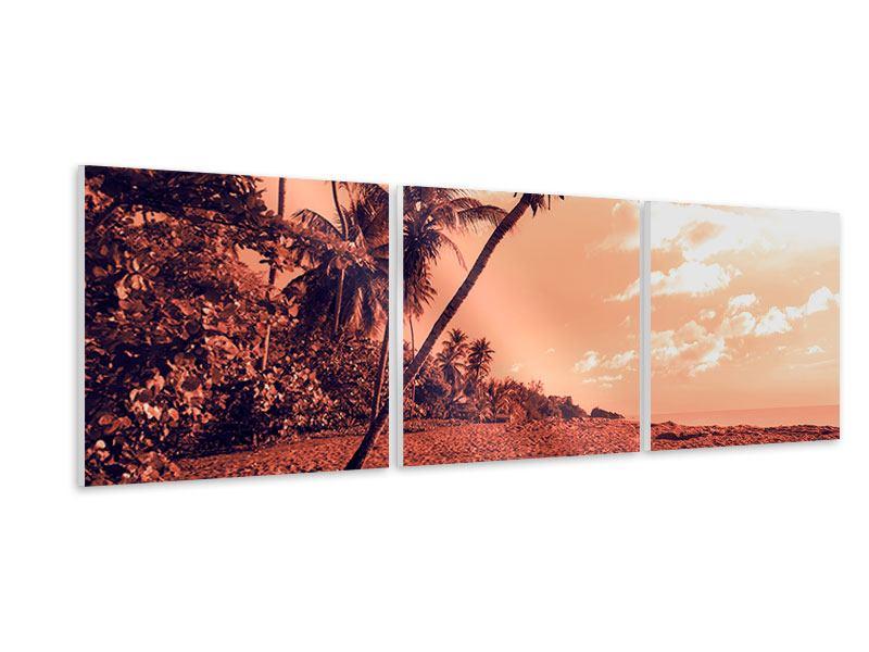 Panorama Hartschaumbild 3-teilig Tropenparadies