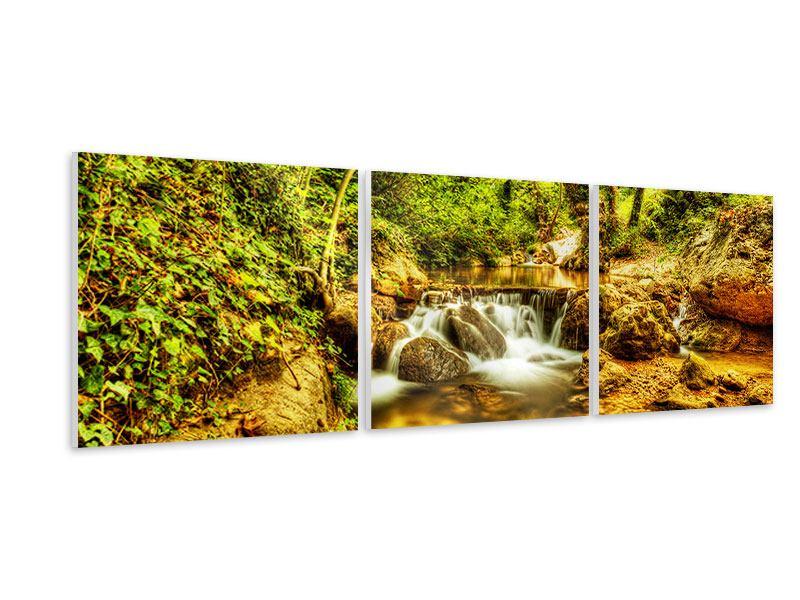 Panorama Hartschaumbild 3-teilig Wasserfall im Wald