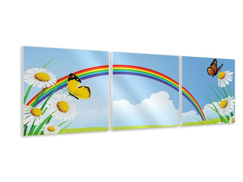 Panorama Hartschaumbild 3-teilig Der bunte Regenbogen