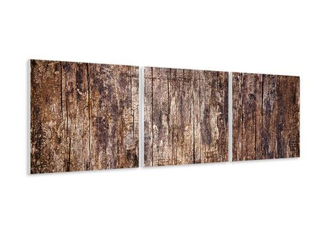 Panorama Hartschaumbild 3-teilig Retro-Holz