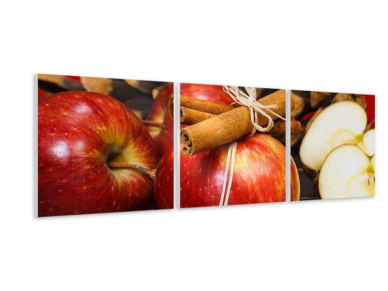 Panorama Hartschaumbild 3-teilig Äpfel