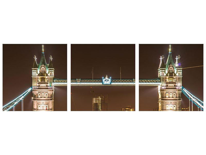 Panorama Hartschaumbild 3-teilig Tower Bridge bei Nacht