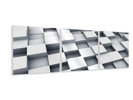 Panorama Hartschaumbild 3-teilig 3D-Kubus