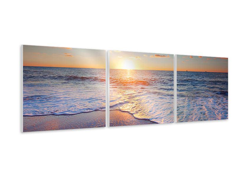 Panorama Hartschaumbild 3-teilig Sonnenuntergang am Horizont