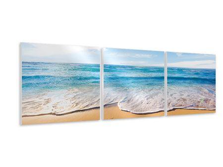 Panorama Hartschaumbild 3-teilig Spuren im Sand