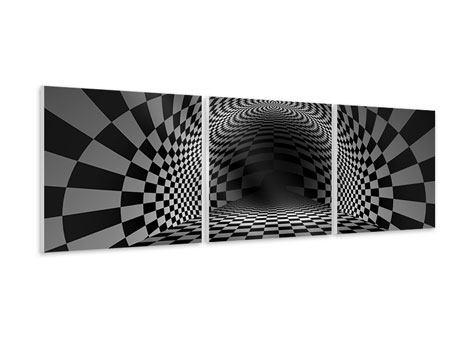 Panorama Hartschaumbild 3-teilig Abstraktes Schachbrett