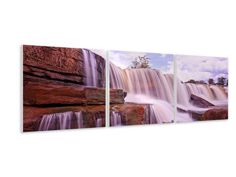 Panorama Hartschaumbild 3-teilig Himmlischer Wasserfall